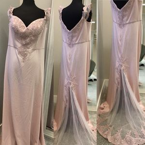 Sweetheart neckline with appliqué gown NWT